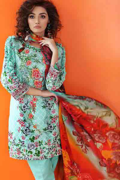 Sky blue floral shirt with dupatta dresses for Eid ul Azha 2017 by Gul Ahmed