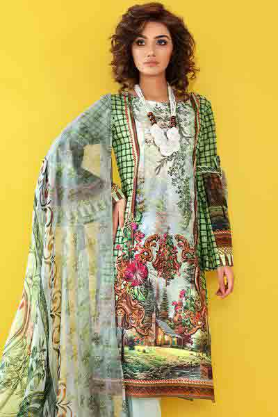 Green and white shirt with dupatta dresses for Eid ul Azha 2017 by Gul Ahmed