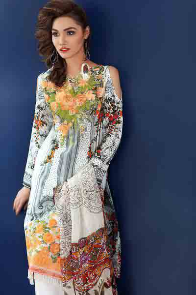 White floral shirt dresses for Eid ul Azha 2017 by Gul Ahmed