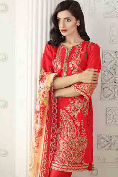 Red shirt with dupatta dresses for Eid ul Azha 2017 by Gul Ahmed