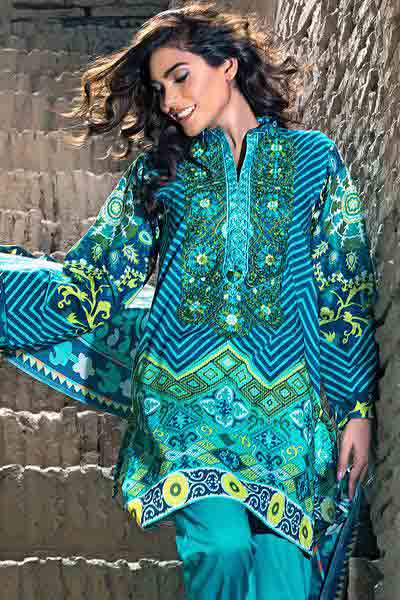 Green and blue shirt with dupatta dresses for Eid ul Azha 2017 by Gul Ahmed