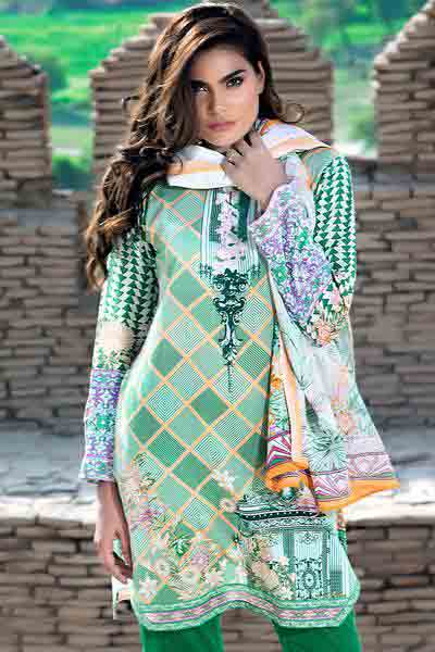 Light green shirt with dupatta dresses for Eid ul Azha 2017 by Gul Ahmed