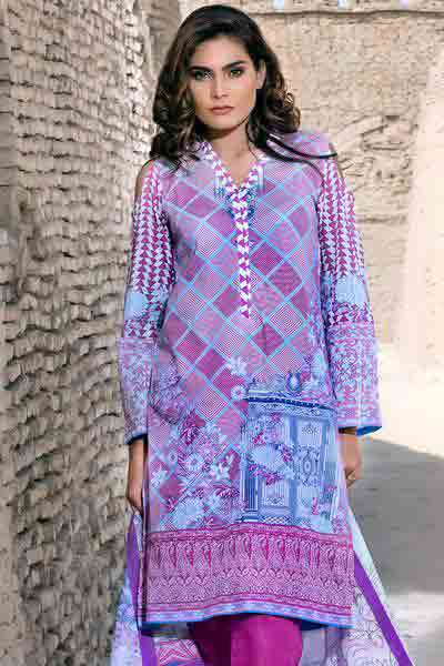 Light purple and blue shirt with dupatta dresses for Eid ul Azha 2017 by Gul Ahmed