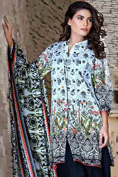 White black and green shirt with dupatta dresses for Eid ul Azha 2017 by Gul Ahmed