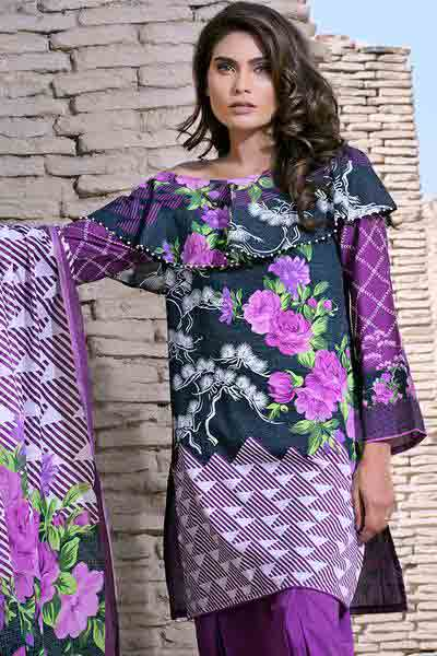 Black and purple shirt with dupatta dresses for Eid ul Azha 2017 by Gul Ahmed