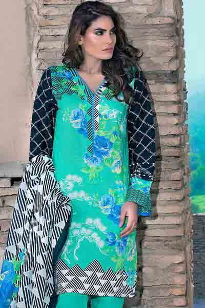 Green and black shirt with dupatta dresses for Eid ul Azha 2017 by Gul Ahmed