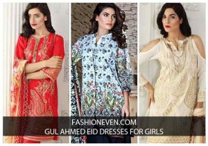 Red and off white shirt with dupatta dresses for Eid ul Azha 2017 by Gul Ahmed