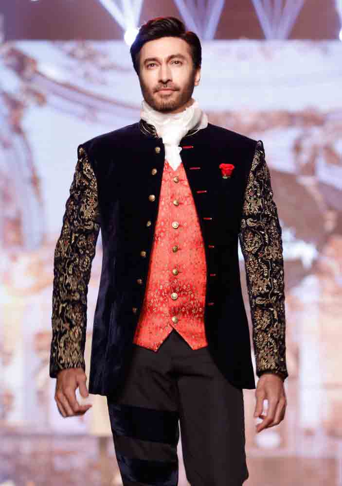 Formal black waistcoat designs 2017 with white pant for boys in Pakistan