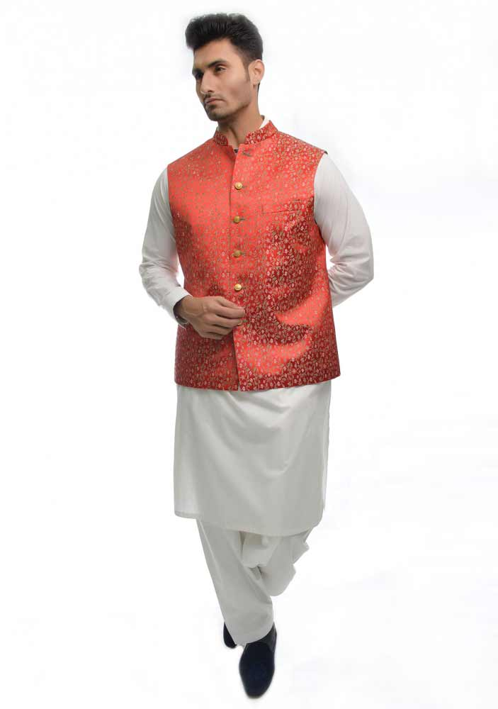 Red waistcoat designs 2017 with white shalwar kameez for boys in Pakistan