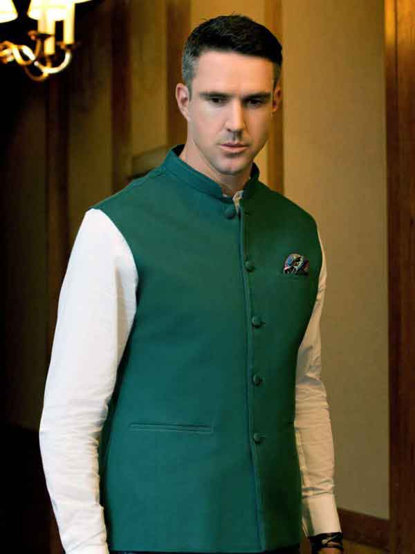 Green waistcoat designs 2017 with white kurta for boys in Pakistan