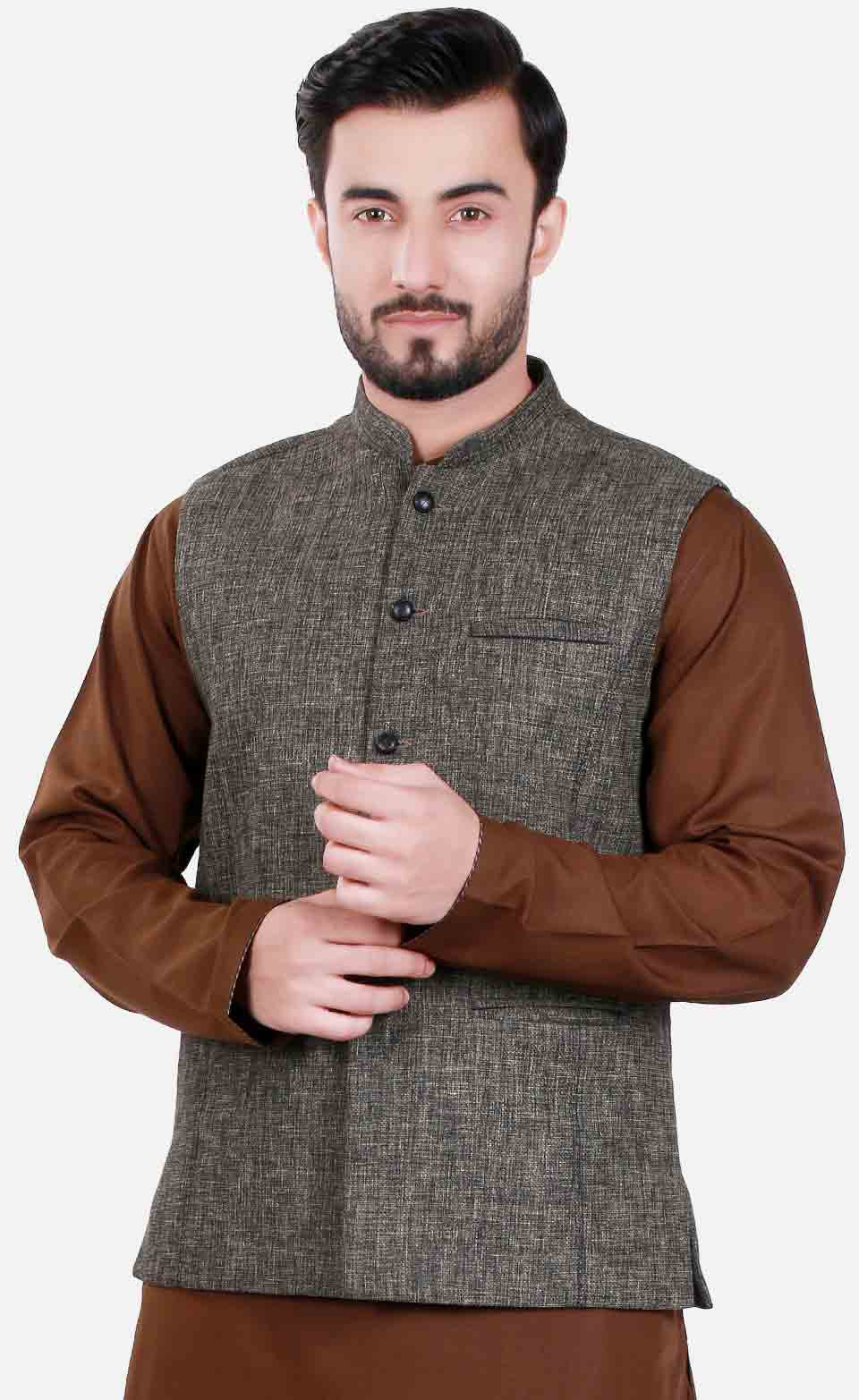 Grey waistcoat designs 2017 with brown kurta for boys in Pakistan