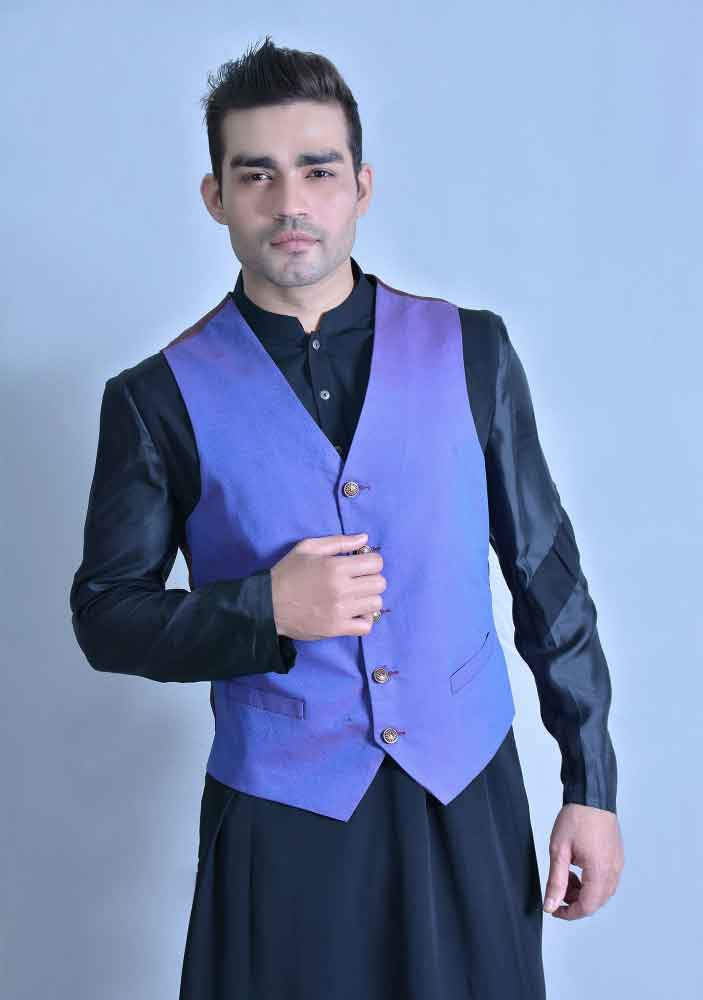 Blue waistcoat designs 2017 with black shalwar kameez for boys in Pakistan