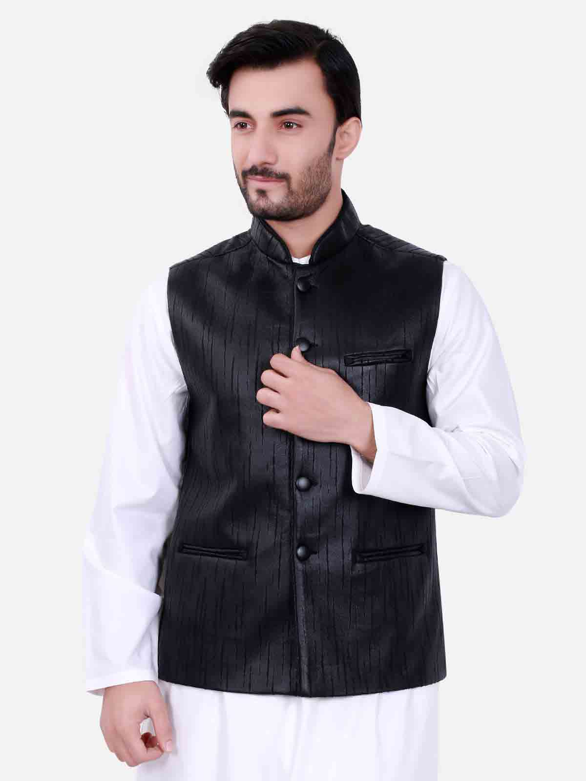 Black waistcoat designs 2017 with white kurta for boys in Pakistan