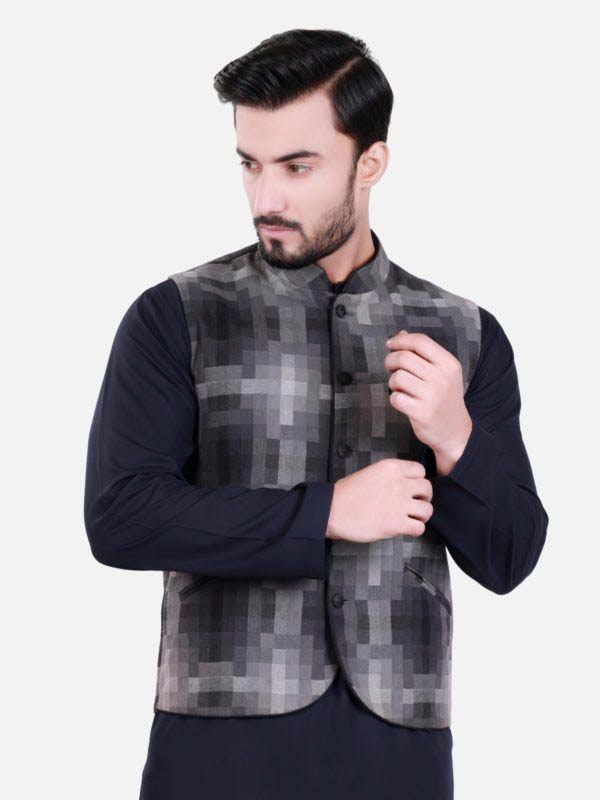Black and grey waistcoat designs 2017 with black kurta for boys in Pakistan