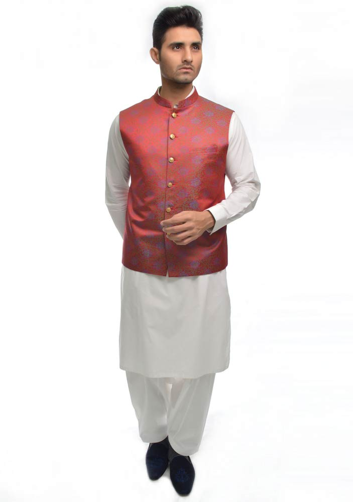 Shimmery red waistcoat designs 2017 with white shalwar kameez for boys in Pakistan