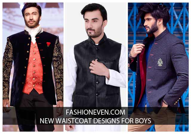 Latest collection of black, blue and pink new waistcoat designs 2017 for boys in Pakistan