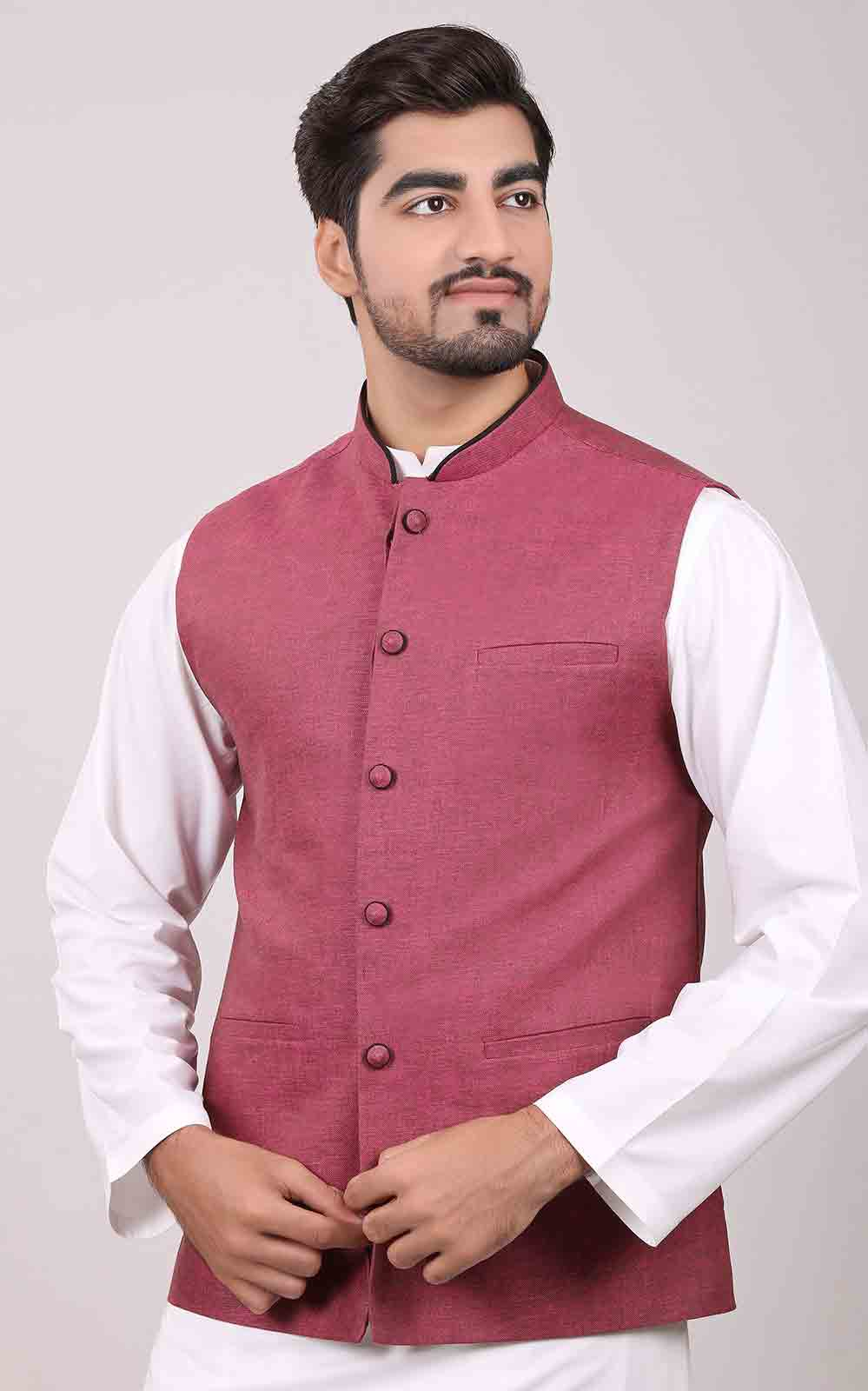 Pink waistcoat designs 2017 with white kurta for boys in Pakistan