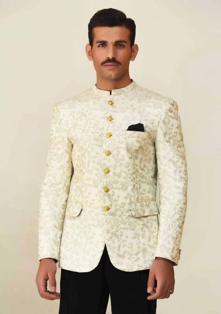 Off white waistcoat designs 2017 with pant for boys in Pakistan