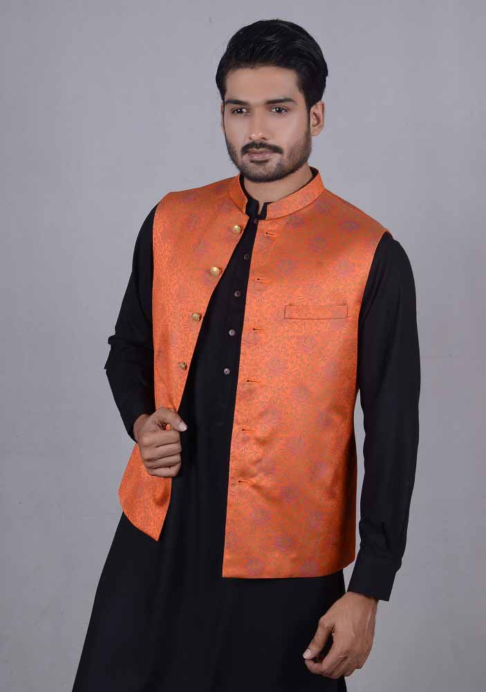 Orange waistcoat designs 2017 with black kurta for boys in Pakistan