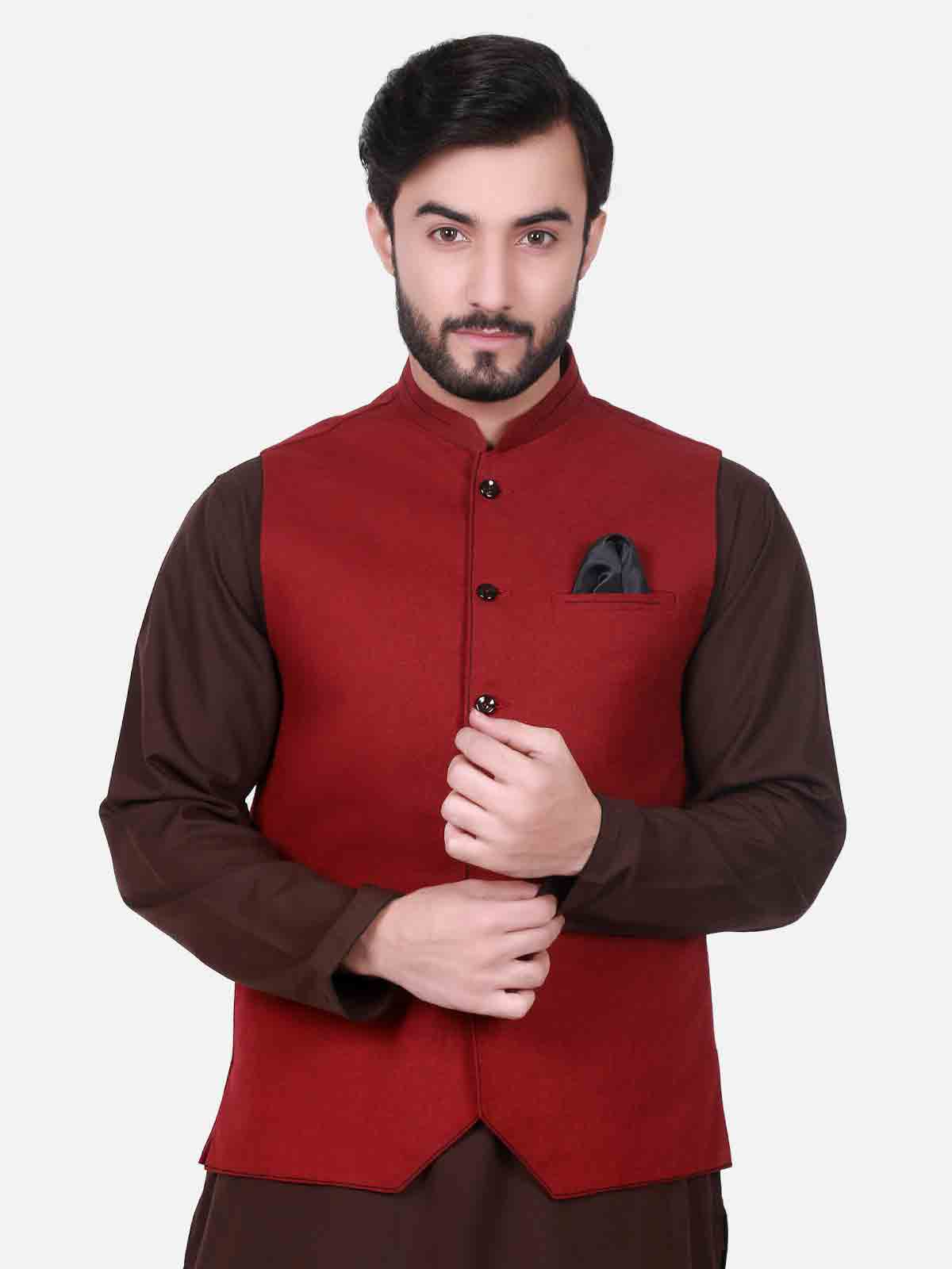 Red waistcoat designs 2017 with brown kurta for boys in Pakistan