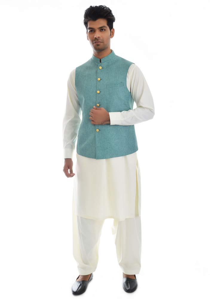 Sky blue waistcoat designs 2017 with white shalwar kameez for boys in Pakistan