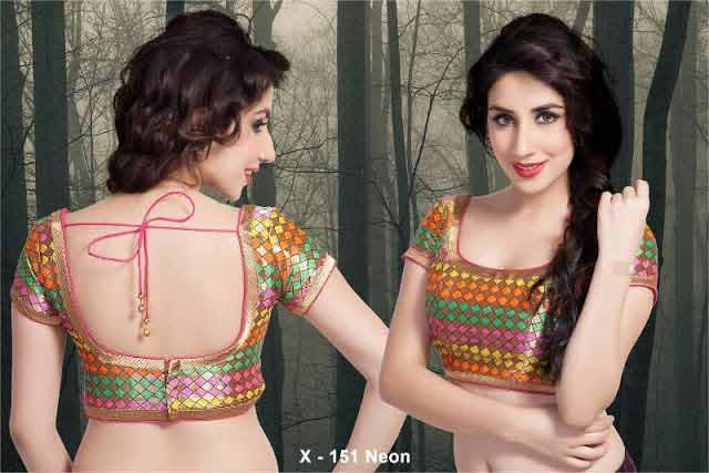 Front and back multicolor saree blouse styles for Indian saree blouse designs 2017