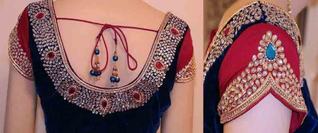 New back neck style for Indian saree blouse designs 2017