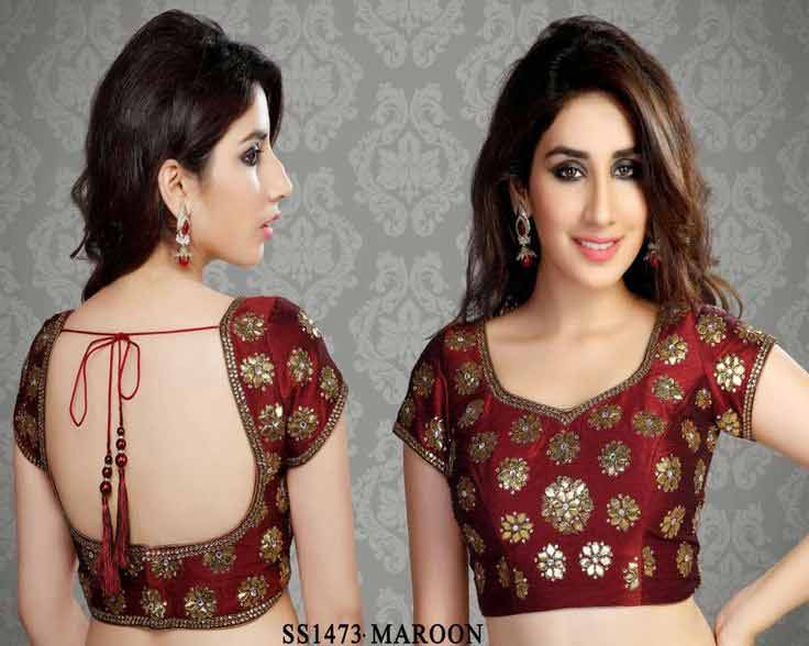 Front and back maroon saree blouse for Indian saree blouse designs 2017