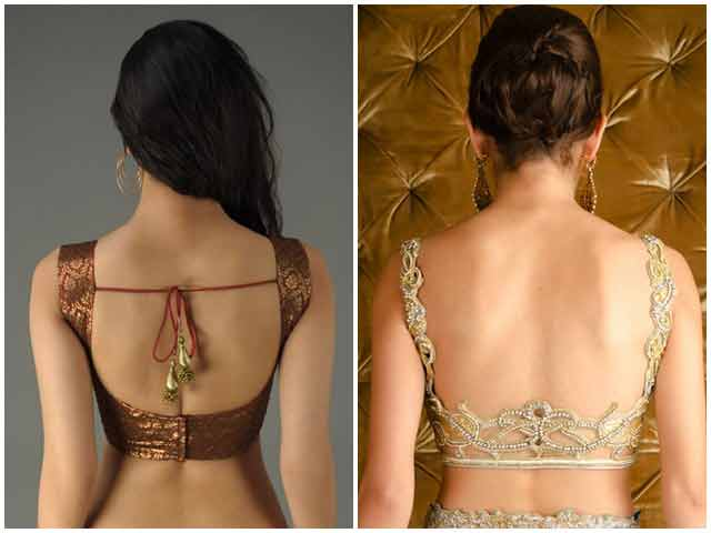 Latest back neck designs for Indian saree blouse designs 2017