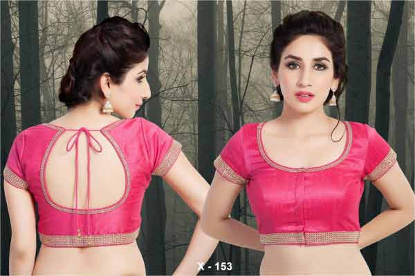 Front and back pink saree blouse for Indian saree blouse designs 2017