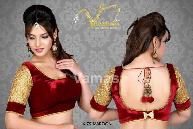 Front and back red saree blouse for Indian saree blouse designs 2017