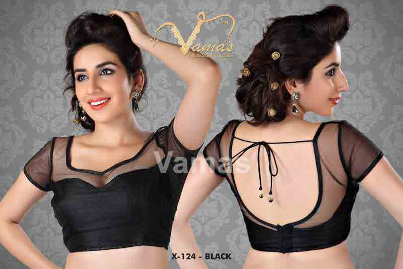 Front and back black saree blouse for Indian saree blouse designs 2017