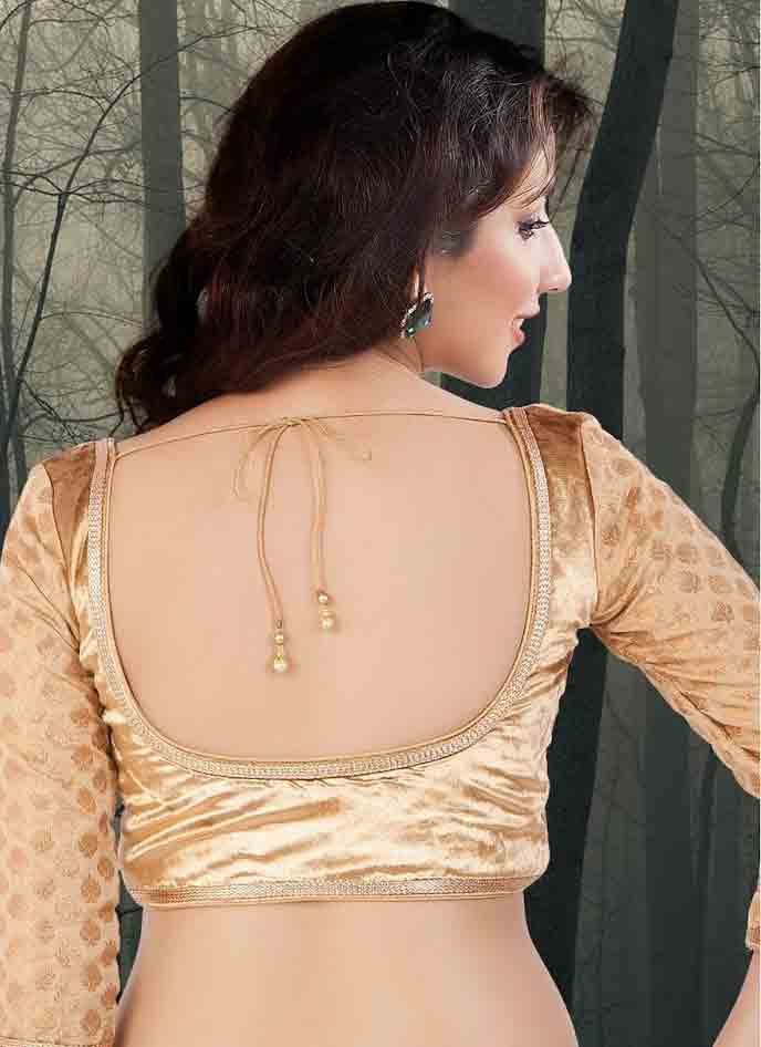 Deep neck blouse style for Indian saree blouse designs 2017