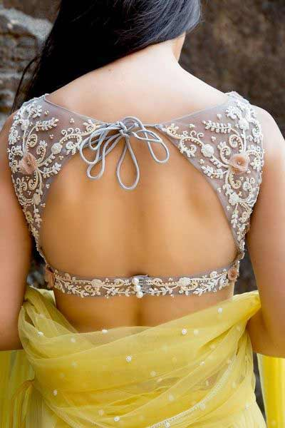 Latest back neck style for Indian saree blouse designs 2017