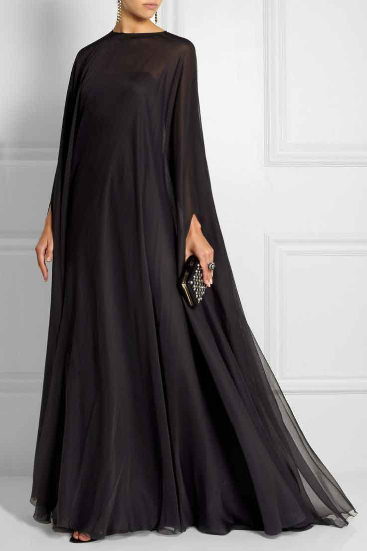 Plain black new stylish black abaya designs 2017 for girls