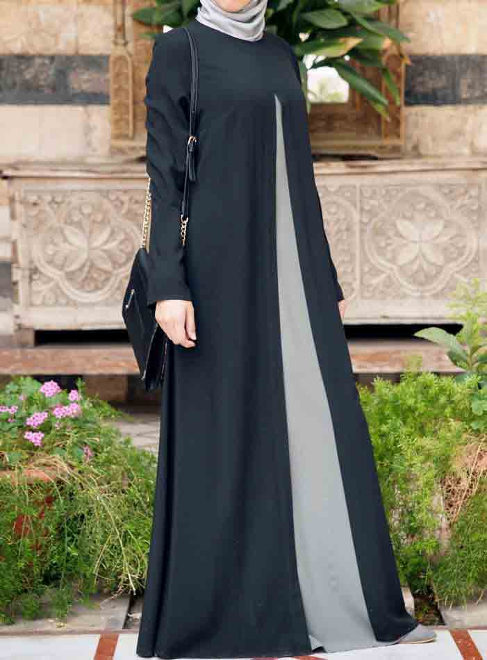 Black and gray new stylish black abaya designs 2017 for girls