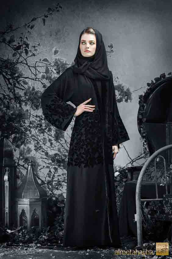 Full black with net lace style new stylish black abaya designs 2017 for girls