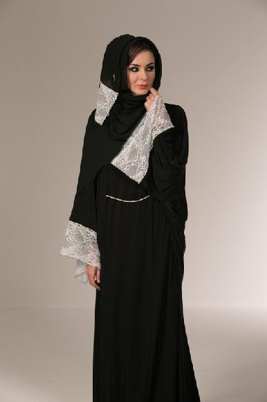 Black and white new stylish black abaya designs 2017 for girls