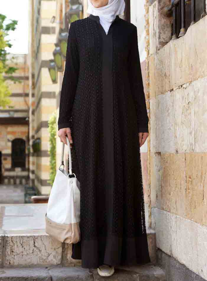 Plain and new stylish black abaya designs 2017 for girls