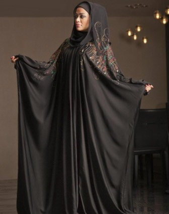Umbrella style new stylish black abaya designs 2017 for girls