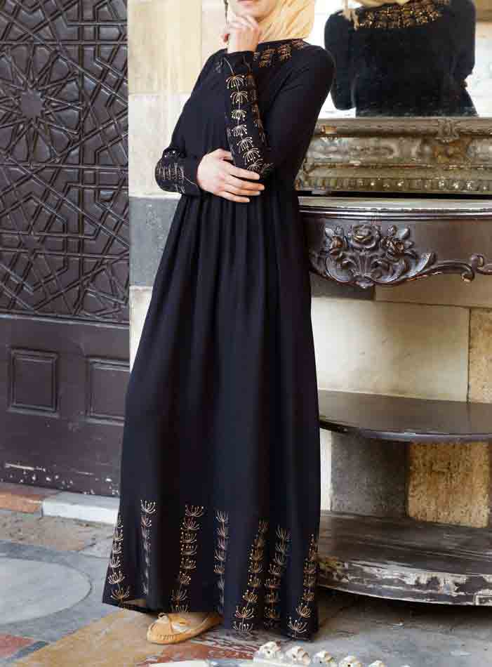 Frock style new stylish black abaya designs 2017 for girls