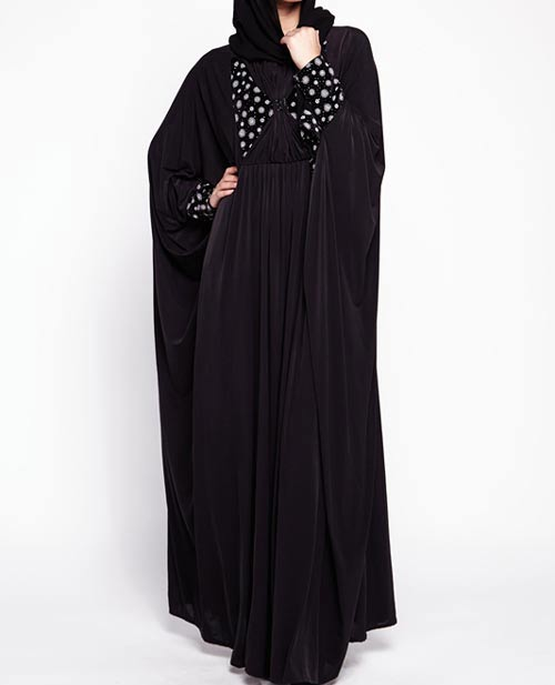 Embellished black new stylish black abaya designs 2017 for girls