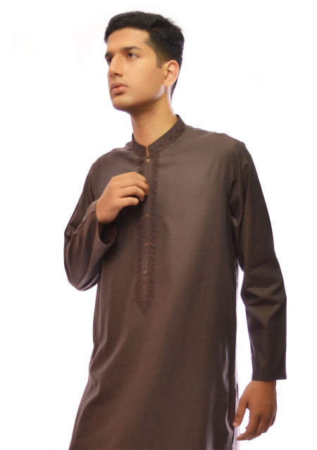 Brown cotton regular kurta designs from the collection of men dresses and shoes for fall winter 2017 by Amir Adnan