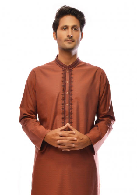 Rust cotton kurta from the collection of men dresses and shoes for fall winter 2017 by Amir Adnan