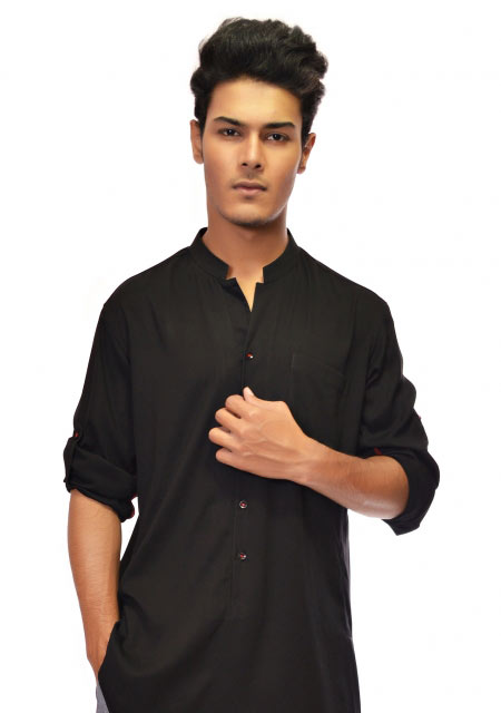 Cross daman plain black men kurta designs from the collection of men dresses and shoes for fall winter 2017 by Amir Adnan