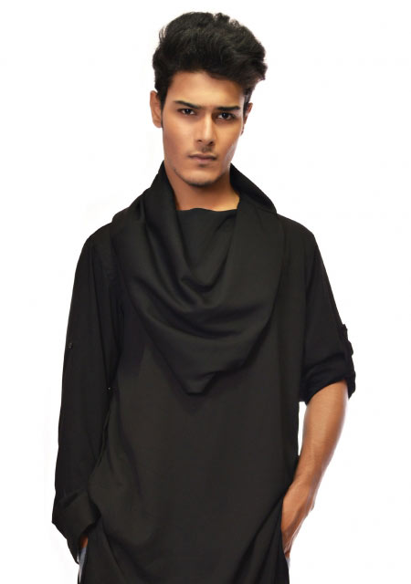 Cowl neck black men kurta designs from the collection of men dresses and shoes for fall winter 2017 by Amir Adnan
