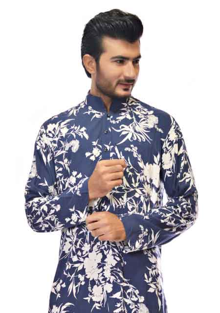 Blue slim fit plain linen kurta designs from the collection of men dresses and shoes for fall winter 2017 by Amir Adnan