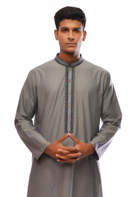 Grey cotton kurta from the collection of men dresses and shoes for fall winter 2017 by Amir Adnan