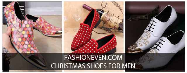 Latest red pink and white Christmas shoes for men in 2017