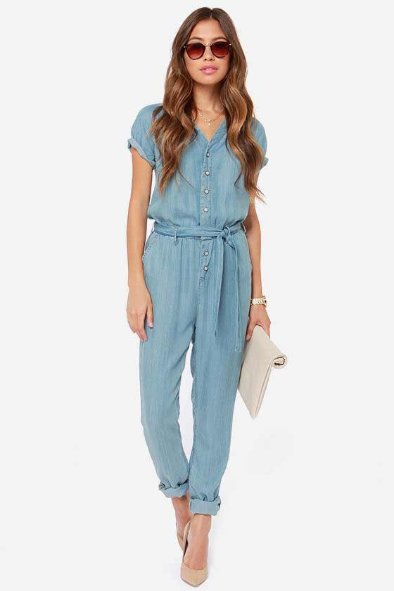 Blue denim overalls and jeans jumpsuits for girls in Pakistan 2017 with sleeves